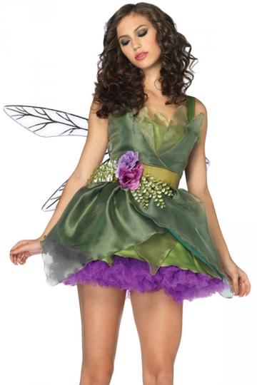 Green Ruffle Cute Womens Fairy Halloween Costume