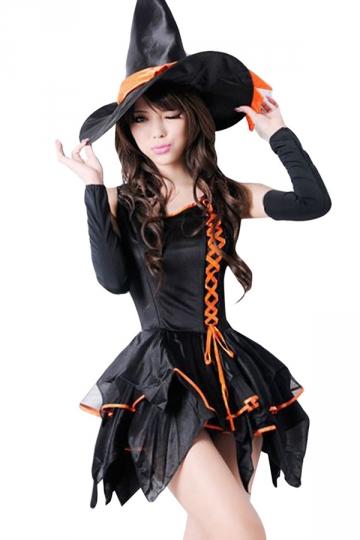 Orange Cute Sexy Womens Witch Halloween Costume