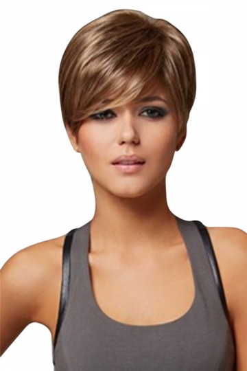 Brown Pretty Straight Cosplay Womens Short Hair Wig