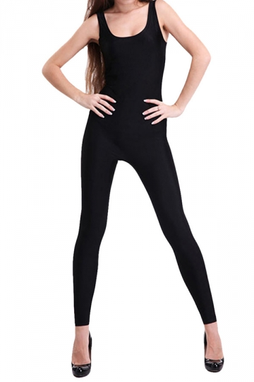 Black Round Neck Womens Plain Shiny Ladies Catsuit
