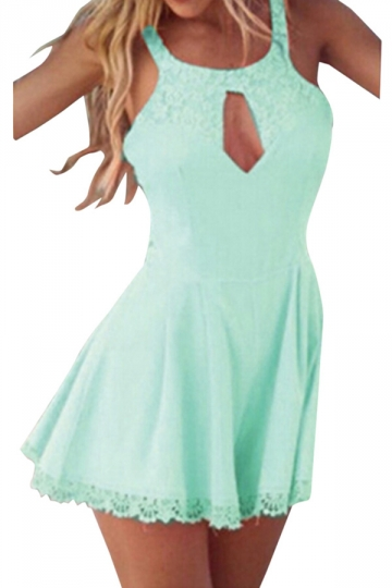 Blue Lace Round Neck Cut Out Womens Romper