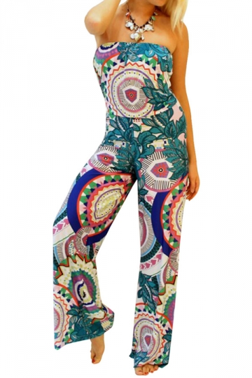 Green Ladies Floral Printed Jogger Jumpsuit