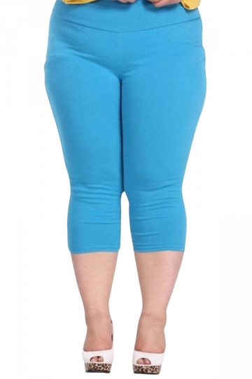 Blue Plus Size Plain Elastic Capri Leggings - PINK QUEEN