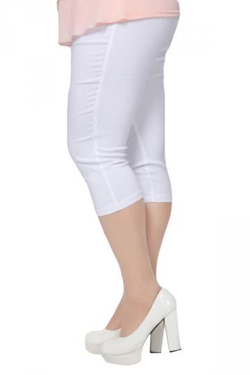 White Plus Size Plain Elastic Capri Leggings - PINK QUEEN