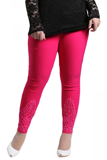 Rose Red Plus Size Plain Elastic Leggings