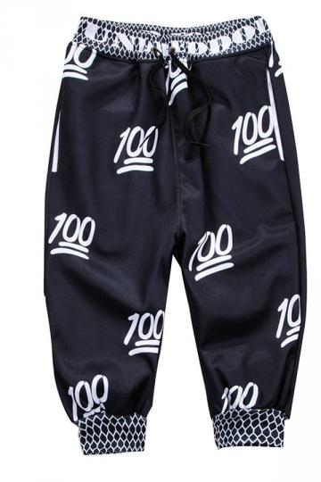Black Ladies Fashion Emoji Printed Jogger Pants