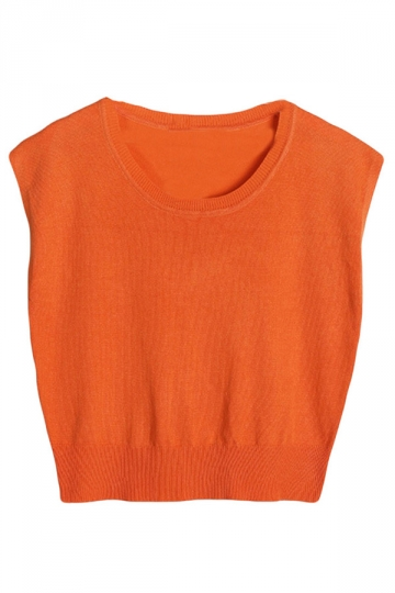Orange Womens Crew Neck Cropped Sleeveless Plain Crop Top