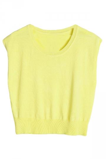 Yellow Womens Crew Neck Cropped Sleeveless Plain Crop Top