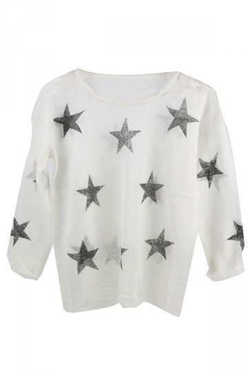 White Womens Crew Neck Ripped Star Pattern Pullover Sweater