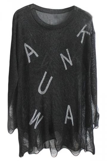 Black Ladies Loose Ripped Letters Printed Pattern Pullover Sweater