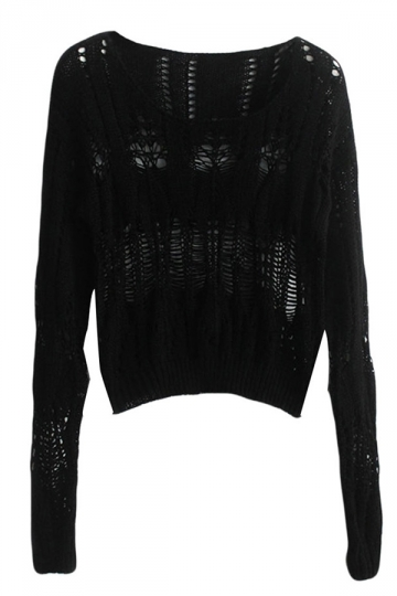 Black Crew Neck Cut Out Crochet Ladies Pattern Pullover Sweater