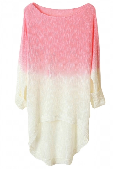 Pink Womens Crew Neck Batwing Sleeve Pattern Pullover Sweater
