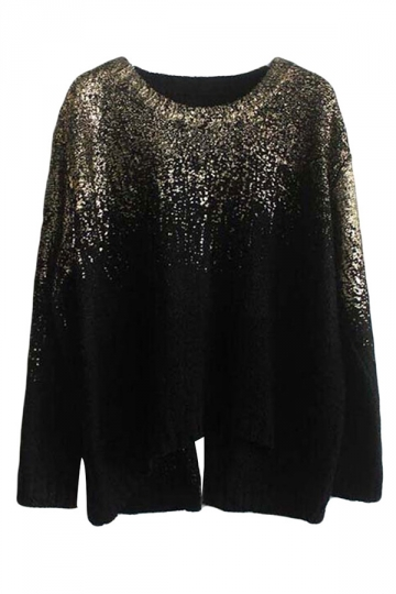 Gold Ladies Crew Neck Gilding Pattern Pullover Sweater