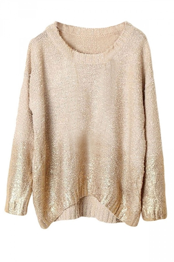 Khaki Womens Gilding Batwing Sleeve Pattern Pullover Sweater