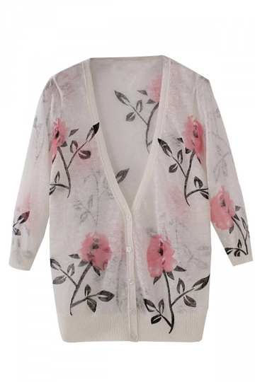 White Ladies Chic Leaves Printed V Neck Linen Cardigan
