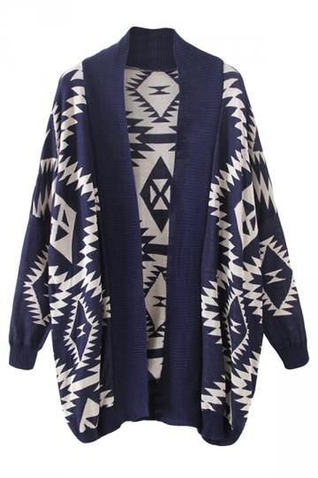 Navy Blue Geometry Printed Long Sleeve Sweater Gardigan