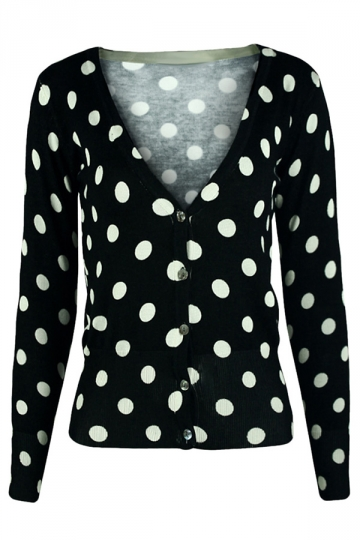 Black V Neck Polka Dot Patterned Button Womens Cardigans Sweater