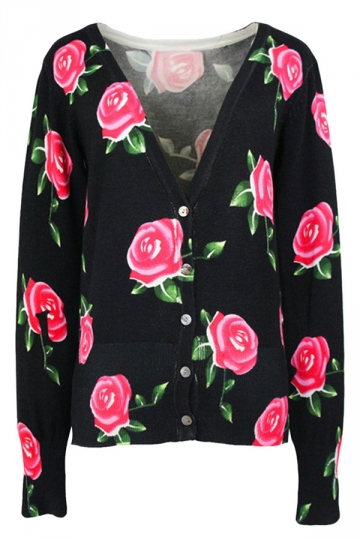 Black Rose Patterned V Neck Button Chic Ladies Cardigans Sweater ...