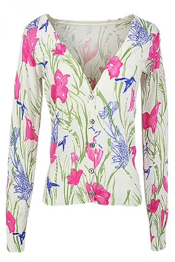 Pink Floral Patterned Button V Neck Chic Ladies Cardigans Sweater ...