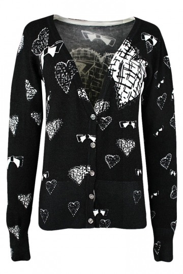 Black Heart Patterned Button V Neck Chic Womens Cardigans Sweater