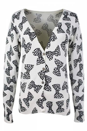 White Dot Bow Patterned Button V Neck Chic Womens Cardigans Sweater