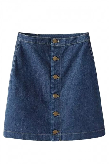 Navy Blue Fashion Plain High Waisted Denim Skirt