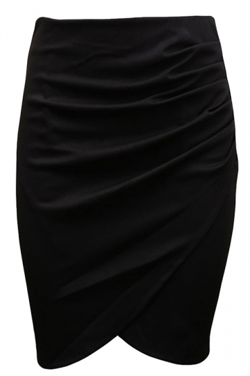 Black Womens Sexy Plus Size Patchwork Pencil Skirt