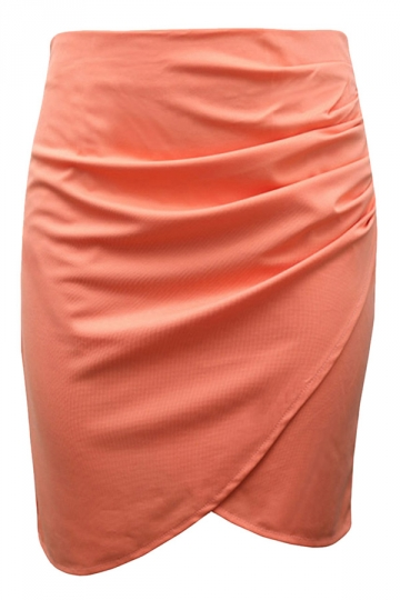 Orange Womens Sexy Plus Size Patchwork Pencil Skirt
