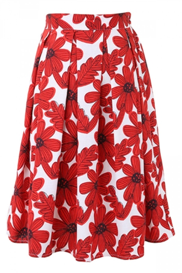 Red Pleated Sunflower Printed Womens Midi Skirt