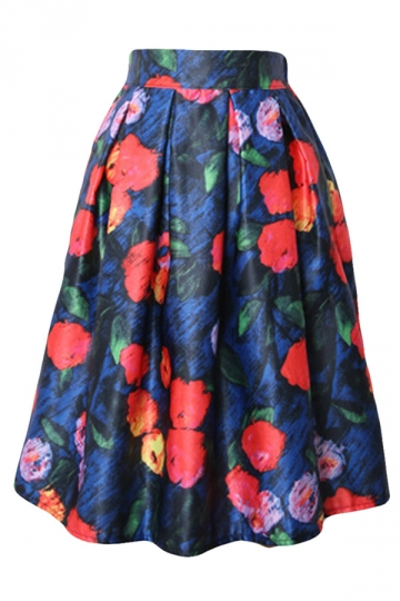 Blue Vintage Pleated Flower Printed Womens Midi Skirt