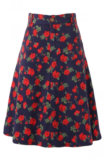 Red Vintage Floral Printed Womens A-Line Midi Skirt