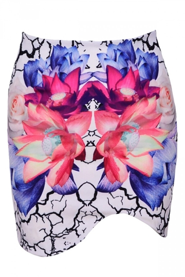 White Ladies Chic Floral Printed Mini Skirt
