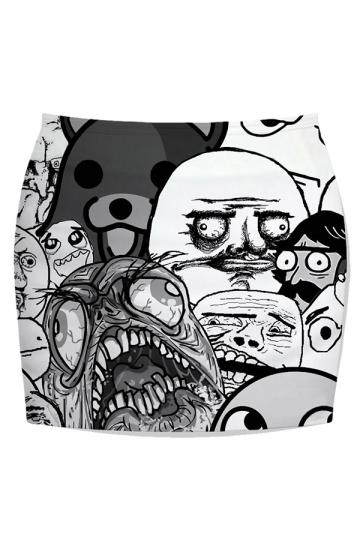 Gray Ladies Rage Comics Printed Slim Mini Skirt