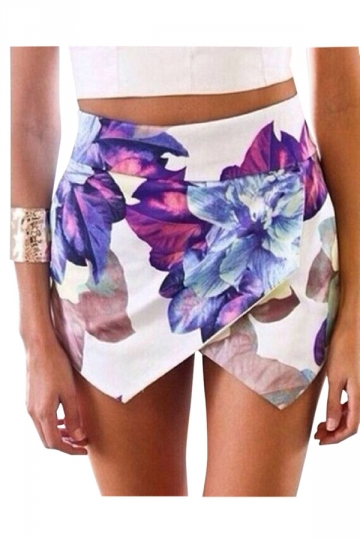 Purple Ladies Floral Printed High Low Mini Beach Skirt
