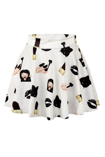 Black Cat and Girl Printed Slimming Chic Womens Pleated Skirt