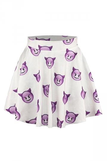 Purple Devil Emoji Printed Slimming Chic Womens Pleated Skirt