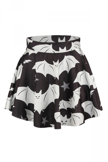 Black Batman Printed Sexy Chic Ladies Pleated Skirt