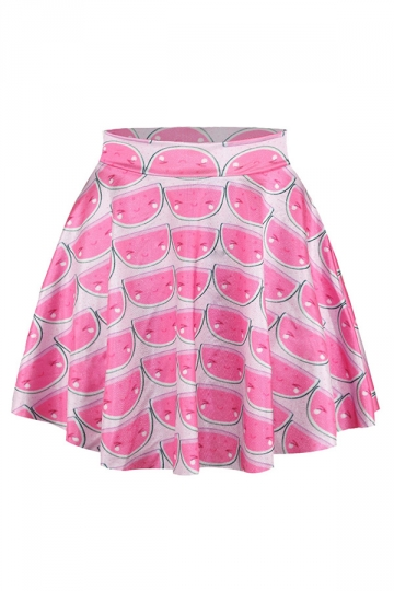 Pink Watermelon Printed Sexy Chic Ladies Pleated Skirt