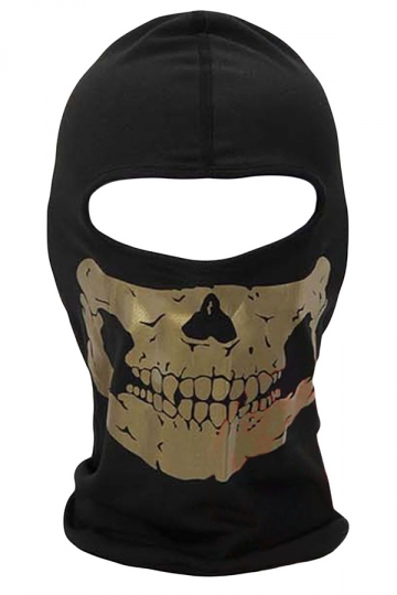 Gold Skeleton Printed Covered Half Face Ski Mask