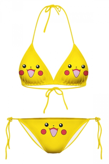 Yellow Womens Pikachu Printed String Bikini Top & Swimwear Bottom