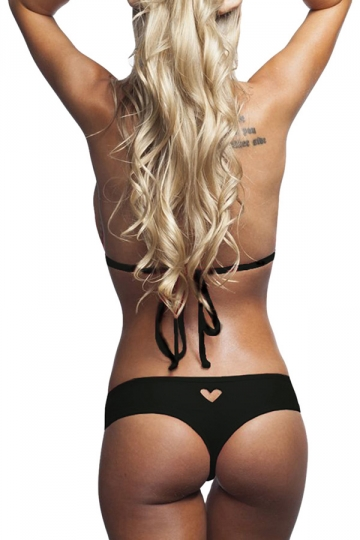 Black Heart Cut Out Sexy Chic Womens Swimsuit Bottom