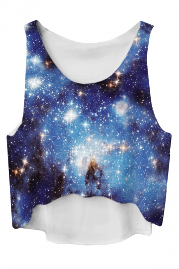 Blue Gradient High Low Galaxy Printed Fashion Ladies Crop Top