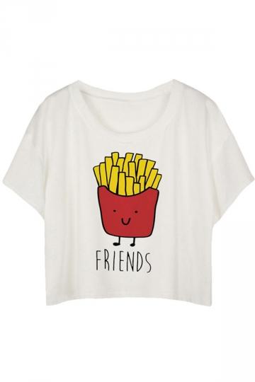 White Loose Fries Printed Ladies T-shirt