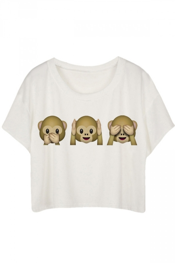 White Loose Monkey Printed Ladies T-shirt