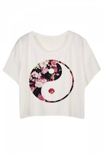 White Loose Tai Chi Printed Ladies T-shirt