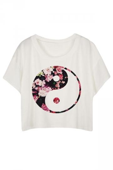 White Loose Tai Chi Printed Ladies T-shirt