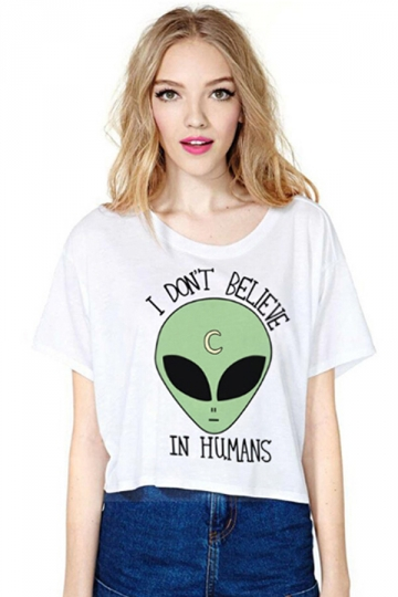 White Loose Alien Printed Ladies T-shirt