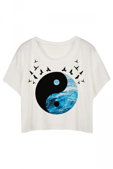 White Loose Tai Chi & Birds Printed Ladies T-shirt