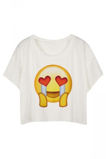 White Loose Emoji Printed Ladies T-shirt