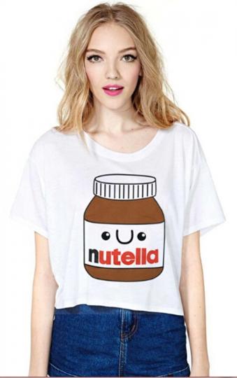 Womens Fashion Nutella Printed T-shirt White